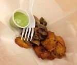 Krispy arepas, plaintains, mushrooms and garlic:cilantro sauce
