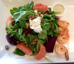 shore beet salad with grilled shrimp