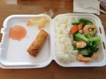 shrimp roll and shrimp with mixed veggies happy dragon