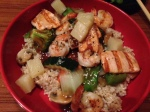 tropical seafood (shrimp and salmon) bowl